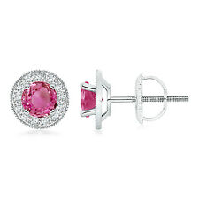 Natural Pink Sapphire with Diamond Halo Margarita Stud Earrings 14K White Gold