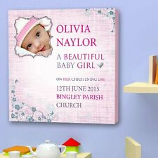 Personalised CHRISTENING CANVAS. Perfect Gift With BABY NAME and photo
