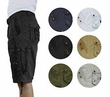 Mens Vintage Cargo Utility Shorts Includes belt for Camping and Hiking