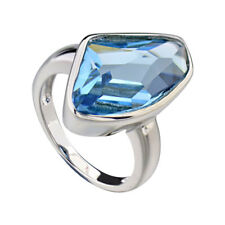 Sterling Silver Blue Crystal Women's Wedding Engagement Ring Solitaire