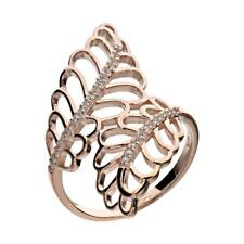 Rose Gold-Plated Silver Round Created-Sapphire Filigree Women's Wedding Ring