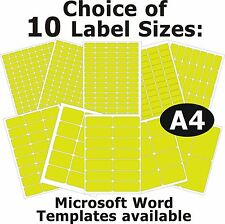 FLUO YELLOW Laser Copier Inkjet Labels 5 A4 Sheets Self-Adhesive Stickers