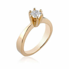 Natural Engagement Ring 14K Yellow Gold 0.24 CT E Si1 Diamond Size 6 Enhanced