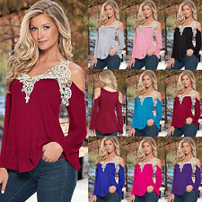 New Women's Ladies Loose Casual Long Sleeve Blouse Lace T Shirt Summer Tee Top h