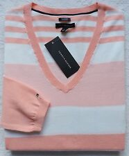 NWT Tommy Hilfiger Women's Striped V-neck Sweater Size: L