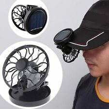 Solar Portable Mini Clip-on Fan Outdoor Sun Powered Panel Black Cooling Cell Fan