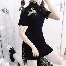 Chinese Style Red -crowned Crane Embroidery Harajuku Cheongsam Dress Gothic