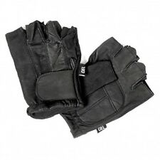 Black Naked Leather FINGERLESS Unisex Gloves Motorcycle Biker Driving Riding ATV