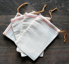 Cotton Muslin Bags with Red Hem and Orange Drawstrings – 4 Sizes of bags