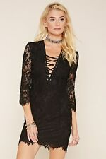 Forever 21 Black Lace-Up Crochet Dress Small S