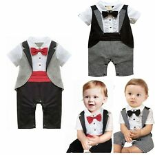 Baby Boy Wedding Christening Party Tuxedo Waistcoat Suit Outfit Clothes 3-24M