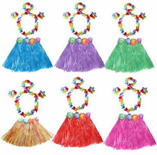 5 Piece Set Costume Hula Garland Flower Wristband Hawaiian Lei Grass Skirt