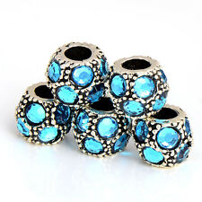European 5pcs Silver Plated Large Hole Flower crystal Charms lot Beads