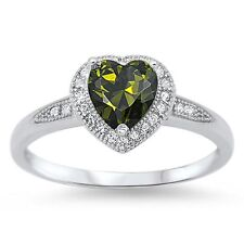 Stunning 925 Sterling Silver Green Peridot CZ Heart Ring Clear CZ Size 4-10
