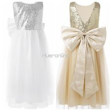Kids Girls Bowknot Sequins Tulle Flower Dress Pageant Wedding Bridesmaid  Party