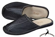 Mens Genuine Cowhide Black Leather House Slippers Scuffs Slip On All Size S New
