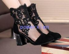 Womens Suede Hollow Out Round Toe Ankle Boots Ladies Embroidery Zipper Shoes SZ