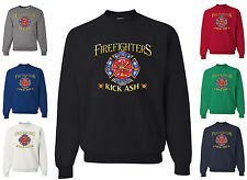 Firefighters Kick Ash Funny Crewneck Sweatshirt Fireman Volunteer Gift Rescue