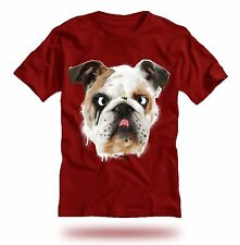 BULLDOG with FLY on NOSE - CARDINAL RED T-Shirt GREAT for dog lovers This Summer