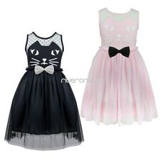 Lovely Cat Baby Toddler Girls Princess Birthday Party Tulle Dresses Kids Wedding