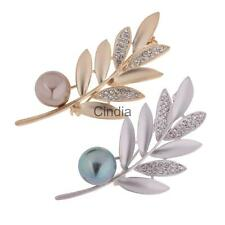 Leaves Leaf Crystal Pearl Corsage Brooch Pin Women Bridal Wedding Party Jewelry