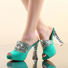 Womens Open Toe Slingbacks Luxury Rhinestone Hollow Out Sandals Mules Shoes New