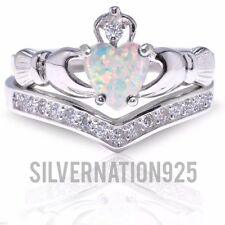 White Fire Opal Claddagh Heart Sterling Silver Ring All Sizes Size 9 Ring Set