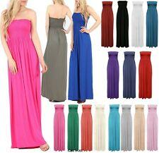 Womens Strapless Maxi Dress Ladies Sheering Boobtube Bandeau Long Plus Size 8-22