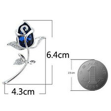 Gift Brooches Rhinestone Clothing Brooch 1Pcs Rose Flower Alloy Crystal