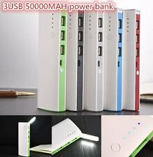 50000mAh 3 USB Backup External Battery Power Bank Pack Charger for Cell CO