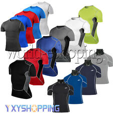 Mens Compression Wear Body Armour Baselayer Short Sleeve T-Shirt Sport Tee Tops