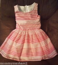 New Childrens Place Girls Sleeveless Pink Striped Organza Flare Dress 4 5 6 8 10