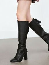 Zara Black Leather Long Boots With Tassels - UK Size 6 Ref: 6012/001/040