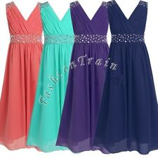 Girls Kids Wedding Bridesmaid Formal Party Pageant Graduation Chiffon Dress 4-14