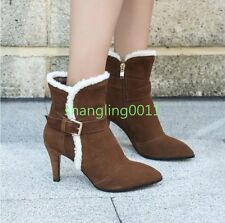 Fashion Womens High Heels Suede Leather Buckle Fur Lined Ankle Boots Shoes New
