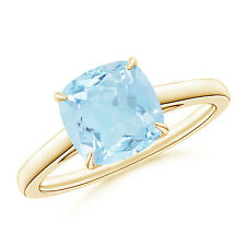 Vintage-Style Solitaire Cushion Cut Aquamarine Cocktail Ring 14K Yellow Gold