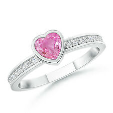 Bezel Heart Pink Sapphire Promise Ring with Diamond 14K White Gold Size 3-13