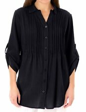 Woman Within plus size 18/20 22/24 26/28 34 36 38 40 Black pintuck blouse top
