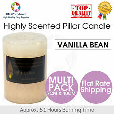Highly Scented Pillar Candle Vanilla Bean 7*10cm Home Wedding 51Hrs Burning NEW
