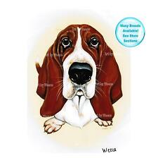 Basset Hound Art Print Dog Painting Poster Pet Portrait Picture Dog Lover Gift