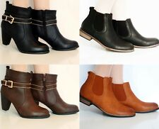 SALE LADIES LOW FLAT BLOCK HEEL LEATHER STYLE ZIP CHELSEA ANKLE SHOE BOOTS SIZE