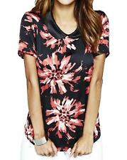 Womens Floral Blouse With Collar in Red/Black Print