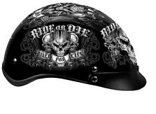 BIKER FOR LIFE Black DOT Approved Shorty Half Motorcycle Helmet RIDE OR DIE