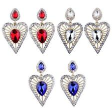 Fashion Women Lady Elegant Hollow Heart Crystal Rhinestone Stud Dangle Earrings