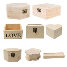 Unfinished Wood Box Blank Wooden Box Base Gift Boxes for DIY Craft Woodcrafts