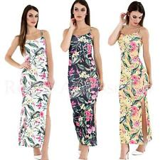 Ladies Printed Strappy Side Slit Maxi Dress Beach Summer Plus Size  Womens