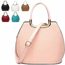 Ladies Embossed Faux Patent Handbag Structured Shoulder Bag Grab Bag MA34860