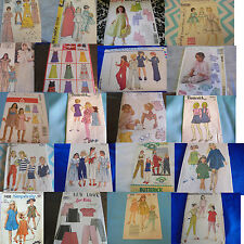 U PICK SEWING PATTERNS ALL CHILDRENS SIZE  VINTAGE PAJAMAS TOPS DRESSES MORE