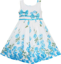 Girls Dress Blue Flower Double Bow Tie Party Birthday Summer Camp Size 4-12