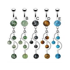 Stone belly ring with dangling vine and stones